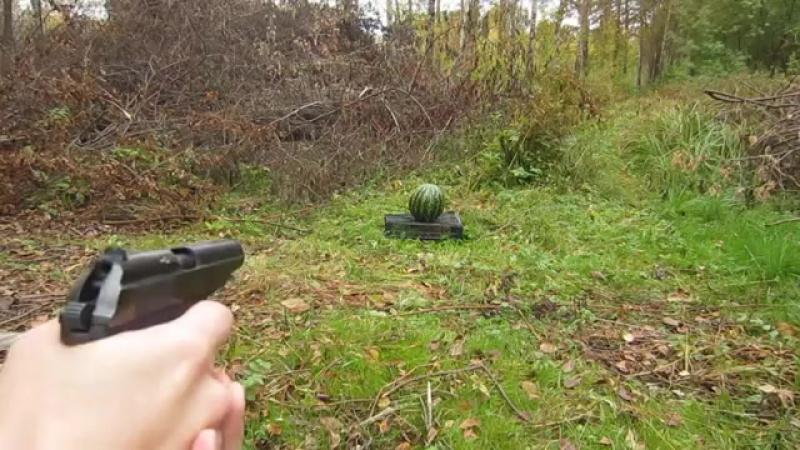Пистолет ИЖ 79-9Т в действии