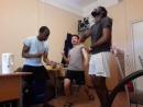Africans dance to Kyrgyz song-- Kara Jorgo