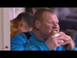 Sutton United vs Arsenal - goalkeeper Wayne Shaw eats during a match