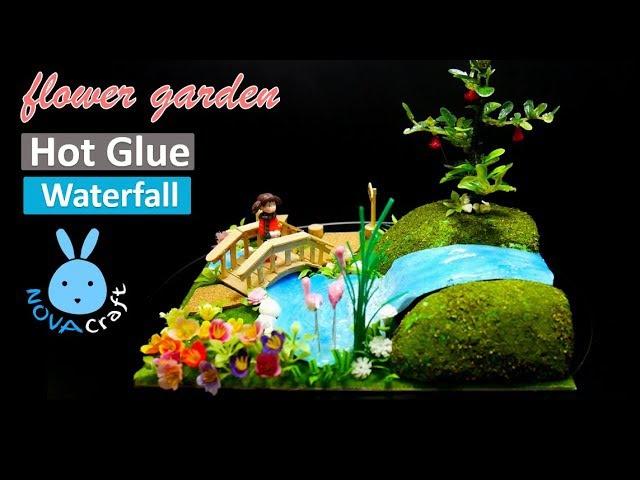 DIY Hot Glue Waterfall Tutorial How to make Ponds Flower Garden Miniature Crafts