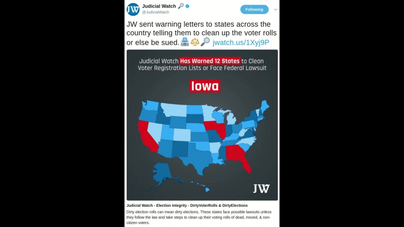 Judicial Watch Has Found 12 States That Have More Registered Voters Than Eligible Voters