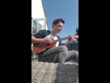 The first day of sun, means ukulele on the balcony!