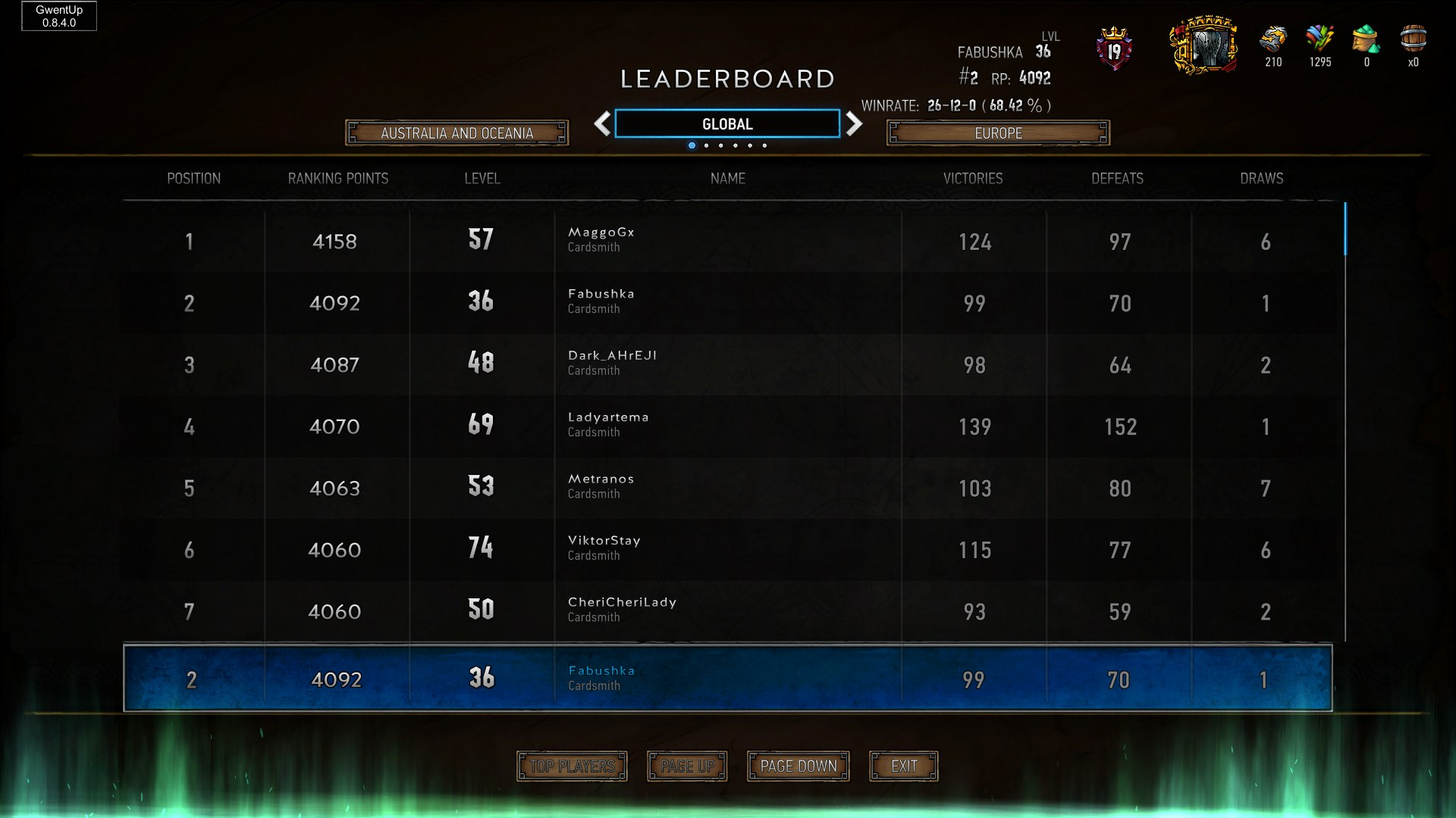 Frost King Top10 65 W R Gwent Decks