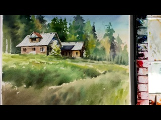 Watercolor Painting : Wooden house in the forest