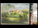 Watercolor Landscape Painting : Scotland Countryside