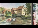 Watercolor Landscape Painting : The Old Town of Aarhus