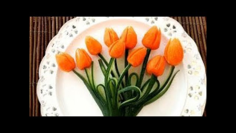 Art In Carrot Tulips Flower | Fruit Vegetable Carving | Food Decoration | Party Garnishing