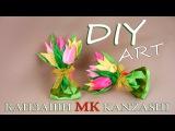 Подарочные Канзаши букетики из лент. Магниты или резинки. МК  Gift Kanzashi bouquets ribbons