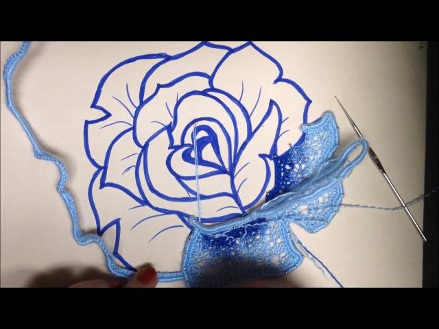 Шнурковая роза с тунисской сеточкой. Часть1. Ирландское кружево