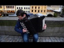 Accordionist playing L'inverno Vivaldi in Prague