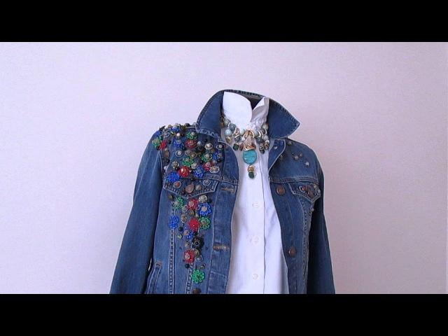 Как красиво вышивать на одежде Модная джинсовая куртка с вышивкой