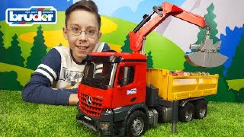 Bruder машинки Грузовик с краном манипулятором MercedesBenz Разгрузка Orbeez Bruder trucks for kids