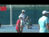 Rafa Nadal, Andy Murray and Omar Abdulrahman on the opening day of Mubadala World Tennis Championship