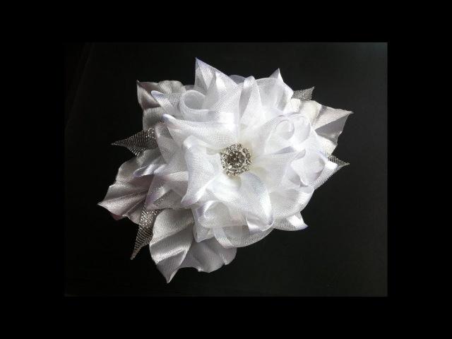 Украшение на ободок Канзаши / Воздушный цветок из органзы с атласным краем
