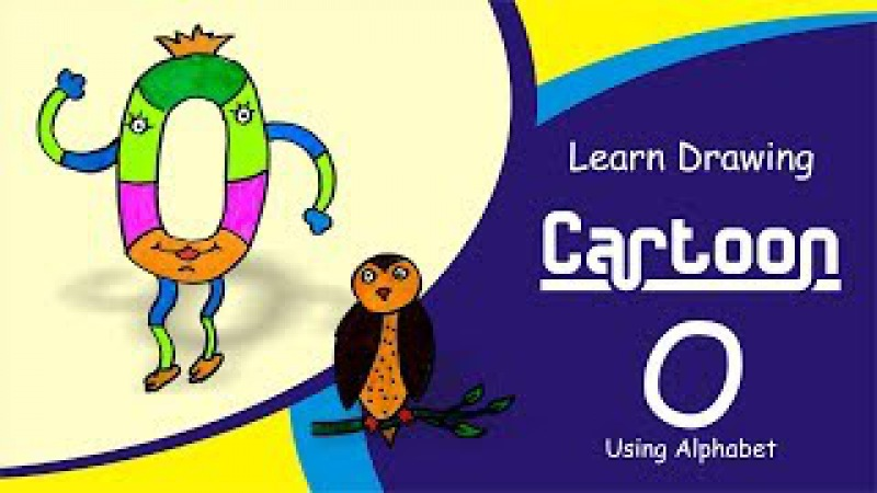 A How to Easy Draw Cartoon with Alphabet O | Fun with Alphabets Drawing for kids | Draw Owl