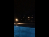 Having night swim, it's -4 C outside now