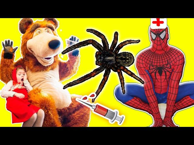 Укусил Гигантский ПАУК Bad baby Делаем УКОЛ в попу Играем в доктора Spiderman Маша и Мед