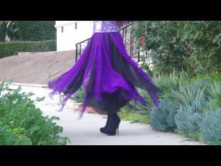 Ameynra fashion - black-purple silk petal skirt