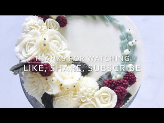 Buttercream white christmas wreath cake - how to make by ol