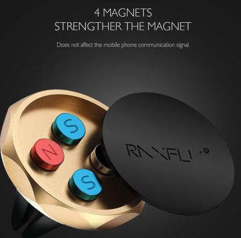 Магнитный держатель для телефона в воздуховод три цвета