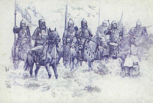 Воины середины XIV века. Рисунки художника Белова