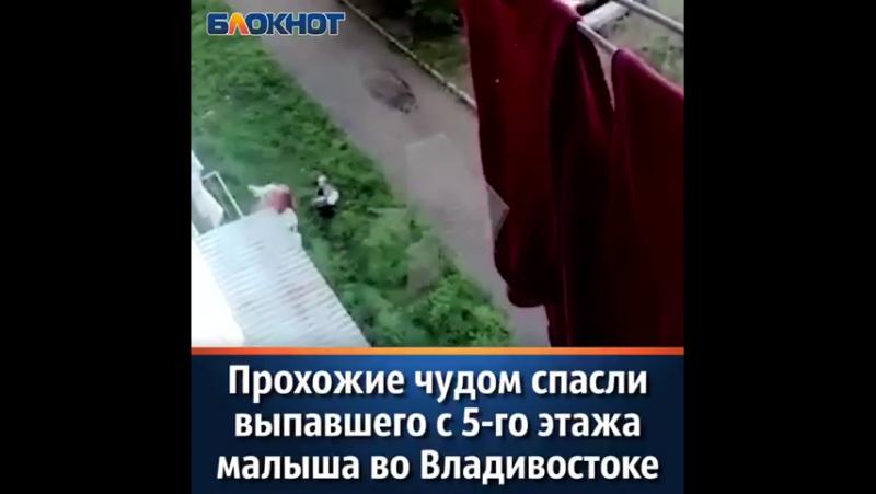 Прохожие чудом спасли выпавшего с 5-го этажа малыша во Владивостоке