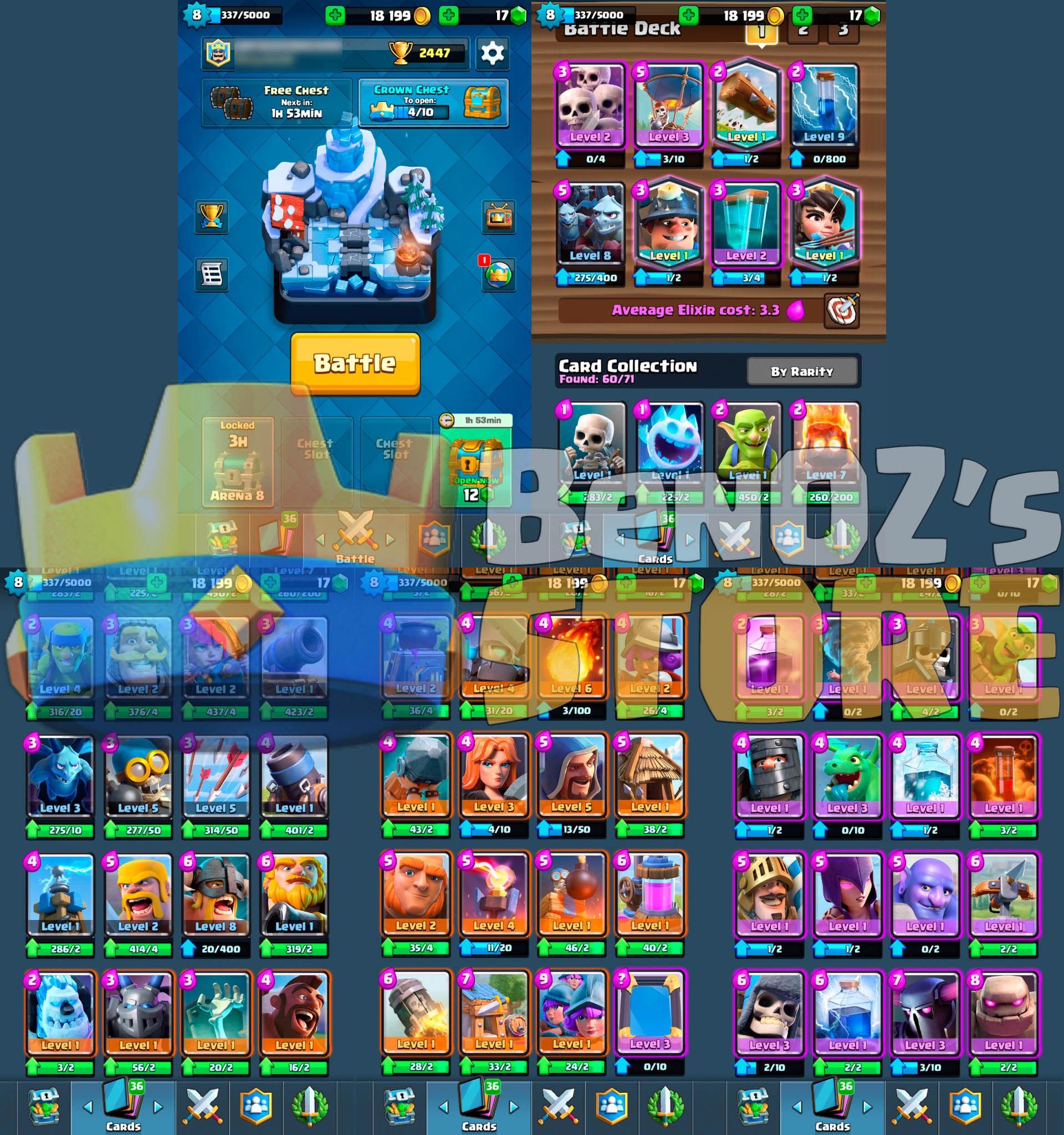 Sold - Lvl 8: MINER, THE LOG, PRINCESS, 18k gold & Arena 8  Android