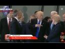 Donald trump empuja a primer ministro para ir al frente de lideres de OTAN