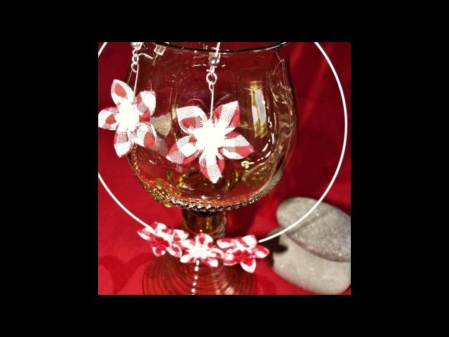 Hand made earrings/fabric earrings/kanzashi earrings/hand made jewellery/naušnice snadno a rychle