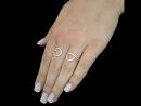 Серебряное кольцо в позолоте на два пальца «Змейка» ,Арт.64251а Вес 2,29 Вставка – фианиты Размер17,5 Ювелирный магазин «Зол