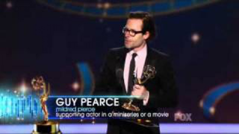 Guy Pearce wins an Emmy for Mildred Pierce at the 2011 Primetime Emmy Awards!