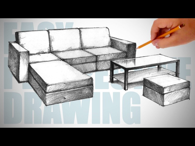 How to draw furniture (sofa) - Easy Perspective Drawing 23