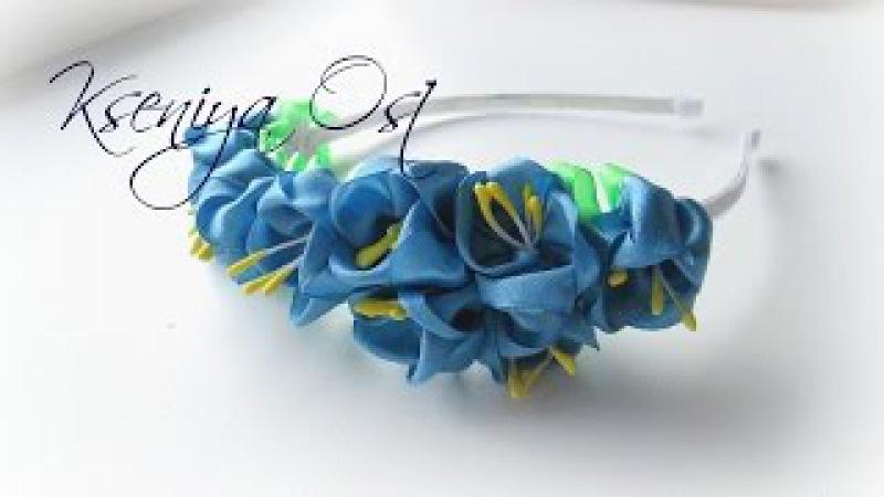 Весенний ободок канзаши. Синие тюльпаны из атласных лент