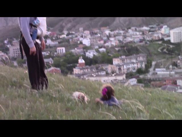 Мэри мопсик, катится с горы с маленькой хозяйкой