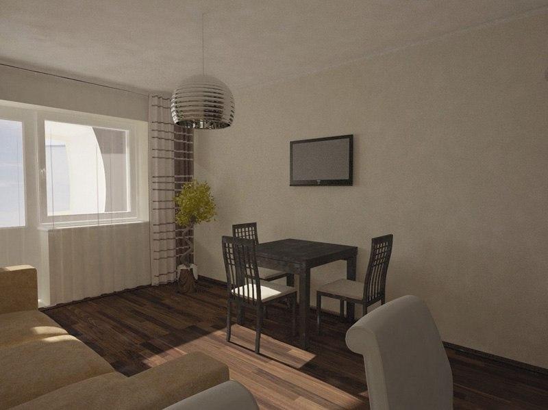 Проект квартиры-студии 31 м (с лоджией 36 м).