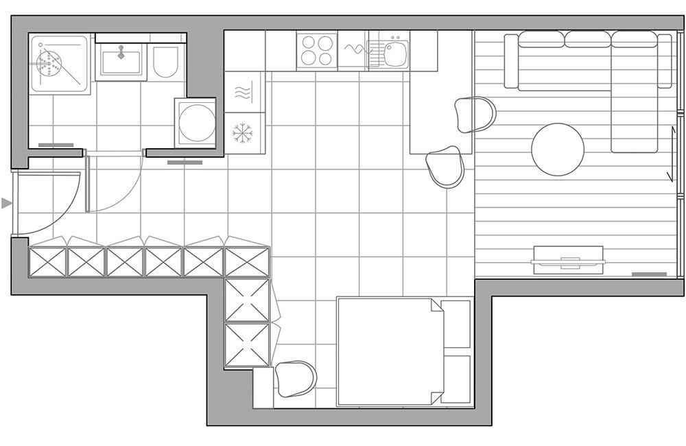Интерьер квартиры-студии 38 м в Кракове (Польша).