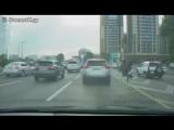 В Москве мужик оседлал страуса и пробежал по главной дороге