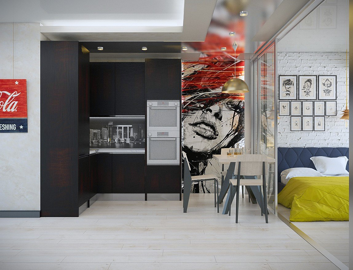 Идея зонирования прямоугольной квартиры-студии.