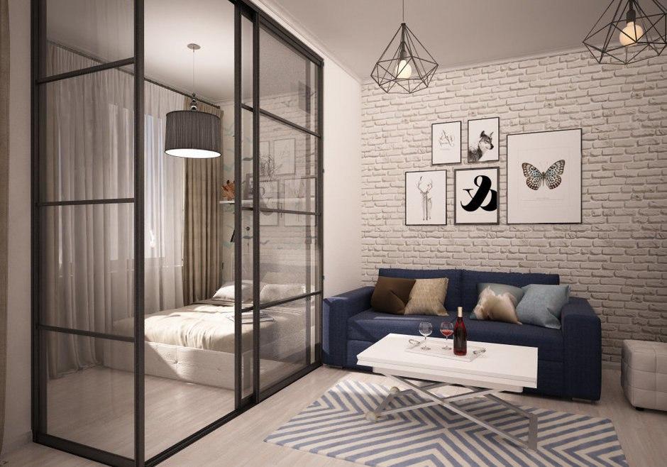 Проект квартиры-студии 52 м в скандинавском стиле.