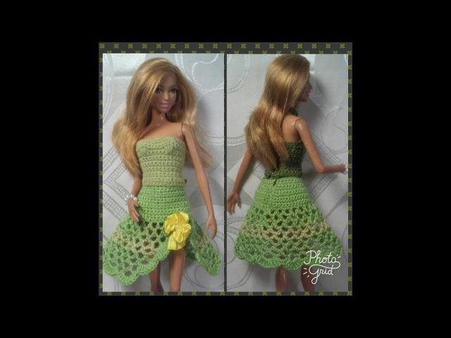 Вязание кокетки и юбки для платья Барби Мастер класс Часть 2