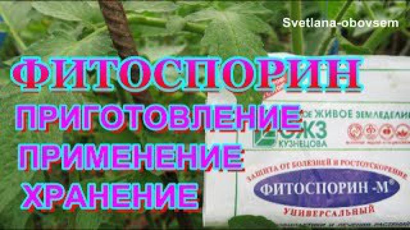 ФИТОСПОРИН -ПРИГОТОВЛЕНИЕ ,ПРИМЕНЕНИЕ , ХРАНЕНИЕ...Боремся с фитофторой ,мучнистой росой...