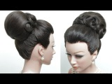 Bridal hairstyle for long hair tutorial. Classic High Bun. Wedding updo