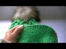 Вязание шапки узором коса с 18 петель Knitting hats braid pattern with 18 loops