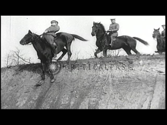 United States Army Cavalry in rigorous training exercises at Fort Crook, Nebraska HD Stock Footage