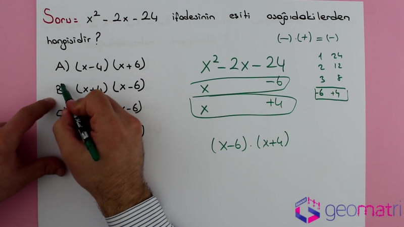 8. Sınıf Çarpanlara Ayırma 3 (TEOG) - Konu Anlatımı ve Soru Çözümleri