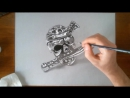 Speed Drawing Pirate Skull - How to draw 3D art