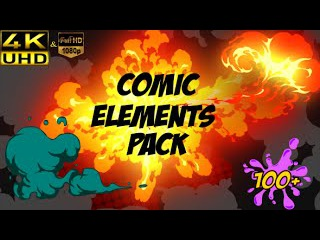 FREE Comic Element Pack +100 After Effects N°644