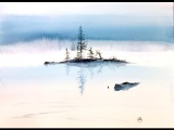 Watercolor Fog on a Lake Painting Demonstration