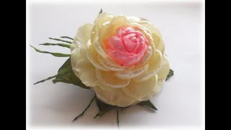 МК Пышная РОЗА из ленты своими руками. Роза КАНЗАШИ DIY Kanzashi Rose