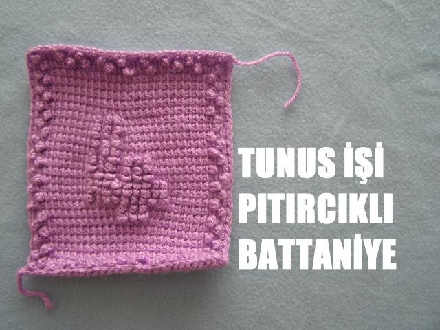 Tunus İşi Pıtırcıklı Bebek Battaniyesi RAKAMLAR 4.NUMARA